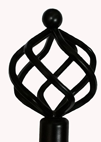 "Fancy Collection Rod Décor - New Decorative Curtain Rod Window Rods (48""-84"", Black)"