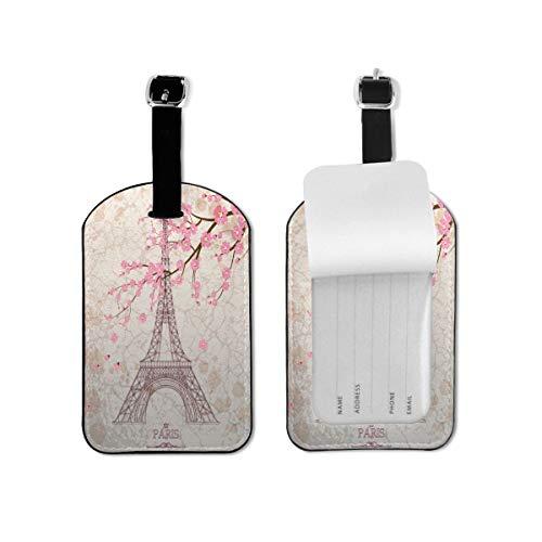 Hermosa Torre Eiffel etiqueta de equipaje flor cerezo etiqueta de identificación de viaje cuero para equipaje maleta para mujeres y hombres 1 pieza