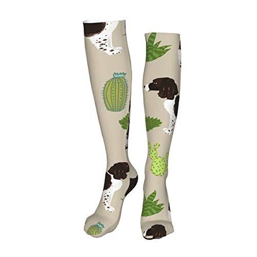 Vilico Casual Rodilla Altas Medias Sobre la Rodilla Calcetines Largos Inglés Springer Spaniel Perro Cactus Perro Unisex Deportes Para Hombres Mujeres