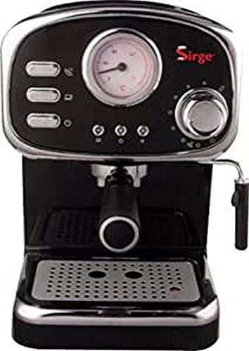 Sirge CREMILDA Caffè Retrò - Macchina per caffè espresso per polvere e cialda ESE, 15 bar [POMPA MADE IN ITALY], 1100W, Serbatoio dell\'Acqua 1,25 L Rimovibile • Ugello Vapore Cappuccino, NERA