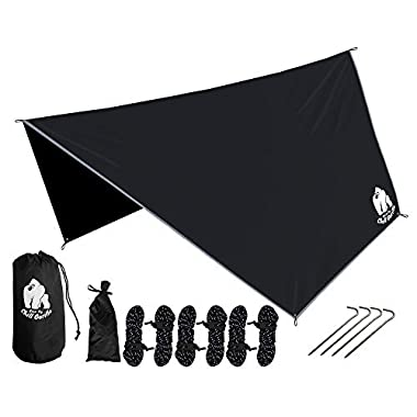 Chill Gorilla Hex Hammock Rain Fly Tent Tarp Waterproof Camping Shelter. Essential Survival Gear. Stakes Included. Lightweight. Easy to Setup. Camp Accessories. Black