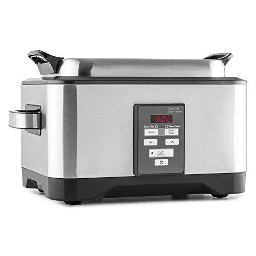 Klarstein Deepdive - cocción Sous-Vide, olla de cocción lenta, horno de cocción al vacío, 550 W, 8 l, 40 °C-99 °C, tiempo de cocción de hasta 24 h, circulación, acero inoxidable, plateado