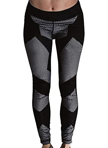 CORAFRITZ Pantalones de yoga de moda con textura de panal de abeja de cintura alta, estampados, ajustados, para gimnasio, fitness, control de barriga, mallas deportivas, bodycon