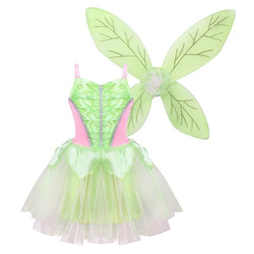 YOOJIA Nias Vestido de Hada Verde 2Pcs Vestido de Tut+ Alas de Hada Disfraz de Mariposa Fiesta Hallowen Carnaval (2-10 Aos) Verde 8-10Aos