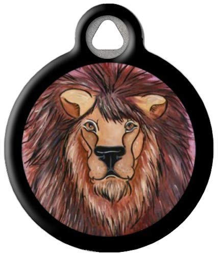 Watercolor Lion - Custom Pet ID Tag for Dogs and Cats - Dog Tag Art - Small Size
