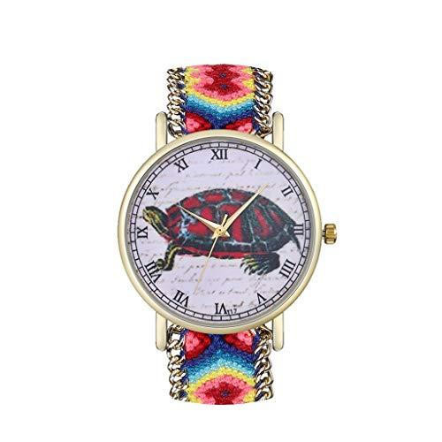 Tyoby Damen Uhren Mode Großes Scheibenrad Quarzuhr Frau Raffinesse Präzision Uhr Wollgürtel Dekoration(CC)