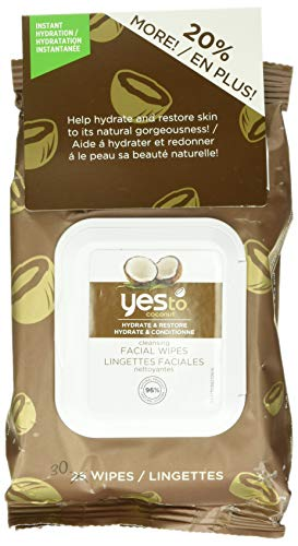 Yes To Coconut Hydrate & Restore Cleansing Facial Wipes, 30 Count
