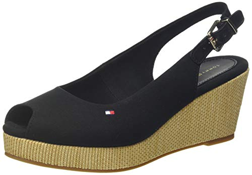 Tommy Hilfiger Iconic Elba Sling Back Wedge, Sandalias con Punta Abierta para Mujer, Negro (Black Bds), 37 EU