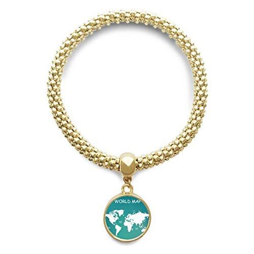 DIYthinker Womens wereldkaart continent distributie Silhouette gouden armband ronde hanger sieraden ketting
