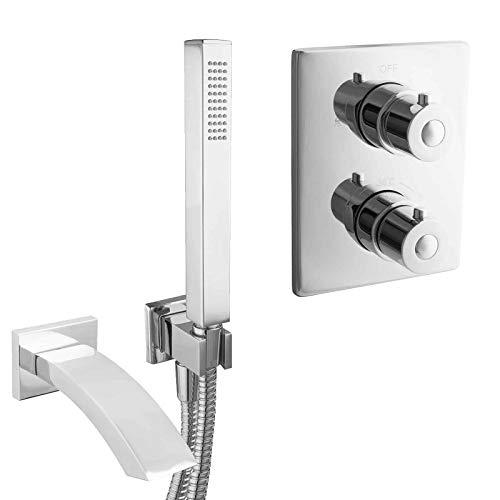 PaulGurkes Unterputz Wannenset Komplett Mischbatterie Thermostat UP Armatur Schwalleinlauf Badewannen Set eckig Design Kombihalter für Handbrause Brauseschlauch