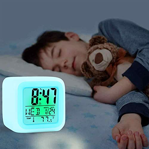 Kids Alarm Clock, 7 Color Changing Night Light, Digital Multifunctional Temperature Alarm Clock with Glowing LED Lights and Sticker, Halloween Christmas Birthday Gift for Your Kids Girls Boys Bedroom