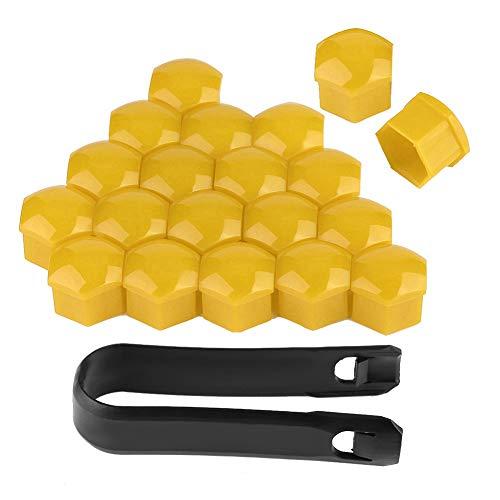 Cubiertas para tornillos de neumáticos, 20 piezas 19 mm Tapones para tuercas de rueda de coche Cubo automático Tornillo Cubierta Perno Llantas Protección exterior(Amarillo)