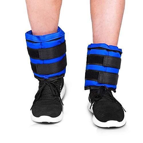 JBM Pesas para tobillos/muñecas/piernas, rellenas con arena, 1 kg, 2 kg, 3 kg (1 par); correas ajustables, ideales para caminar, trotar, para gimnasia, fitness, ejercicios aeróbicos., color azul, tamaño 1KG (0.5 kg each)
