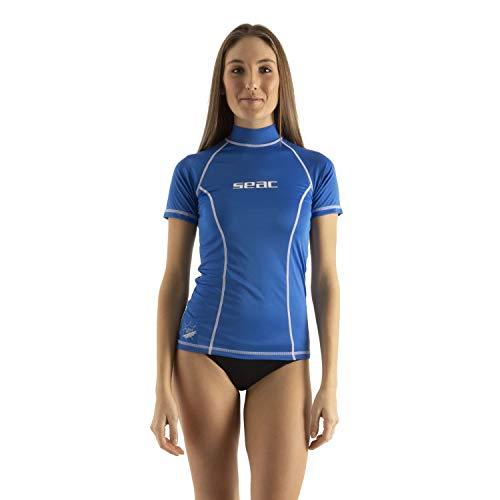 SEAC T-Sun Short Donna Maglia Protettiva Rash Guard per Snorkeling e Nuoto Anti UV, Blu, M