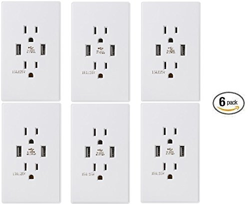 Standard Outlet 2 US Standard Socket with Dual USB Ports Outlet Cover Wall Plates Included Mirror Surface (6 Packs)