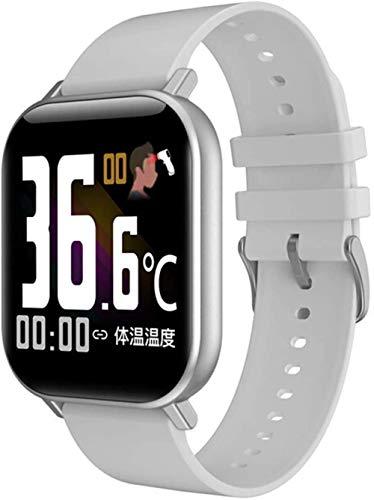 Reloj inteligente con temperatura corporal para hombres y mujeres, monitor de presión arterial, monitor de actividad física, reloj inteligente (color: gris silicona), gris silicona