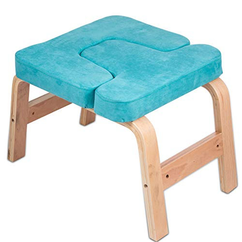 Best Price! LOVESHARE Headstand Bench Wood Legs Yoga Inversion Chair with Suede Velvet Pads Headstan...