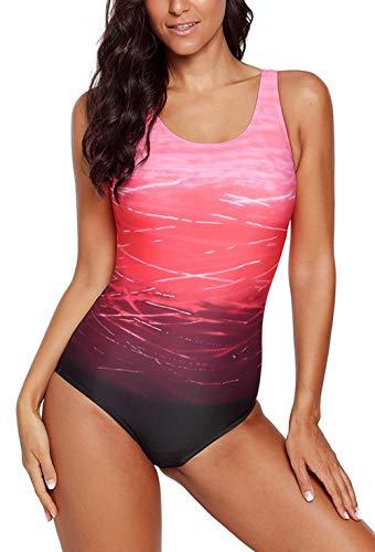 ZIYYOOHY Damen Badeanzüge Einteiler Racer-Back Rückenfreie Figurformend Schlankheits Raffung Badeanzug (Pink, 42 / XL)
