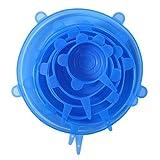 GET Cubierta De Silicona para Mantener La Frescura Cocina Multifunción Envoltura De Plástico para Frutas Y Verduras Cubierta De Silicona para Cuenco 6 Piezas - Azul