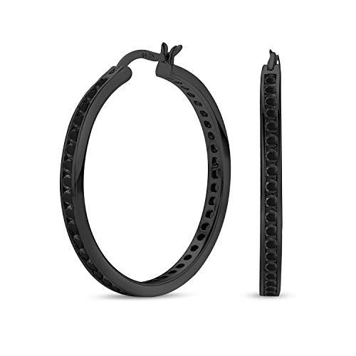 Schwarz auf schwarz Zirkonia Pflaster CZ große Aussage große Reifen Ohrring für Frauen IP vergoldet 925 Sterling Silber 1,5 Zoll Durchmesser