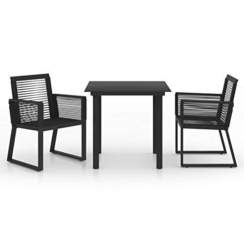Kshzmoto 3 Partes Juego de Comedor de jardín, Grupo de Asientos, Mesa de jardín, Muebles de jardín, sillas, Juego de jardín, Muebles de balcón, ratán PVC Negro