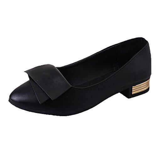 PAOLIAN Sandalias de Vestir para Mujer Verano 2018 Casual Sólido Zapatillas de Cuero y sintético Suela Blanda Zapatos de tacón con Punta Fiesta Sandalias Noche Moda Kitten Heels (39, Negro)