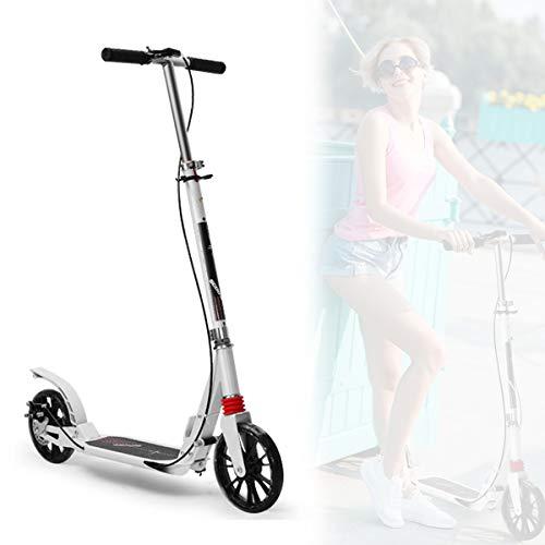 Adulto Scooter,Ajustable Plegable Scooter,Ligero Ciudad Scooter con Ruedas de PU/PuñO de Bicicleta,para Los Hombres Mujer Exterior,Double Brake White