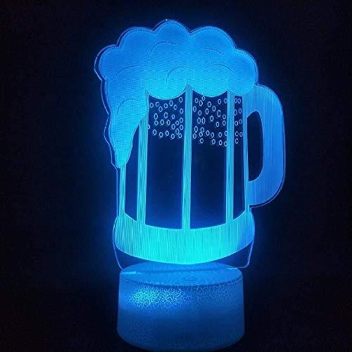 Luce notturna 3D con telecomando Lampada 3D Bicchiere da birra a batteria 7 colori con decorazione soggiorno a distanza Regalo unico per adolescenti Lampada a luce notturna a led_7 colori modific