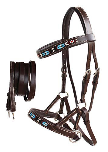 CHALLENGER Horse Western Leather Tack Beaded Bitless Sidepull Bridle Reins Brown 77RT07BR-F