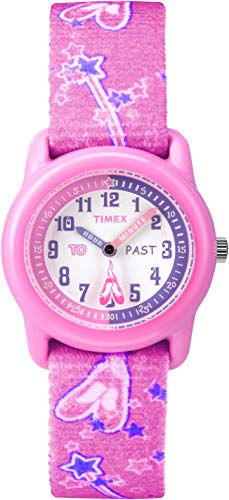 Timex Kids' T7B151'Time Teacher' Plastic Watch with Pink Ballerina-Print Canvas Strap