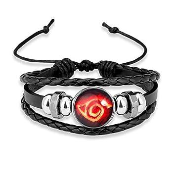 Naruto Sharingan Eye Akatsuki Anime Leather Wristband Braided Bracelet Naruto Time Gemstone Leather Cosplay Jewelry  PBR-Naruto 12