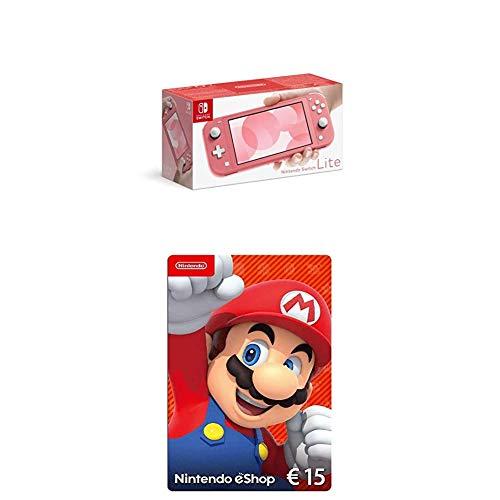 Nintendo Switch Lite, Standard, Koralle + Nintendo eShop Card | 15 EUR Guthaben | Download Code