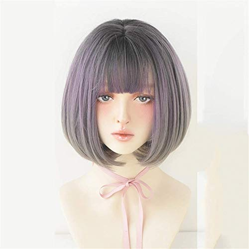 Hermosa peluca larga ondulada Pelucas para mujeres pelucas de pelo corto con flequillo plano Costo de colorido sintético recto Peluca de cosplay para mujeres Pelucas de peluca de color de gradiente (C