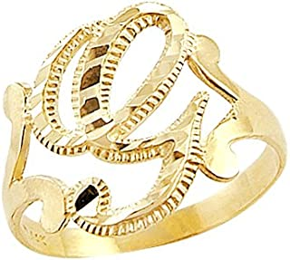 14k Yellow Gold Initial Letter Ring G