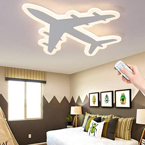 Cartoon Kinderzimmer Lampe LED Dimmbar Deckenleuchte Weiß Flugzeug Design Kinderlampe Modern Dekor Mädchen Junge Schlafzimmer Deckenlampe, Schlafzimmerlampe Metall Decke Licht inkl. Fernbedienung 36W