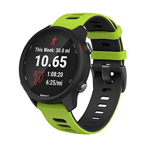 Pulseira extra para Garmin Forerunner 245/645 Music/Vivomove/Vivomove HR and Active 3 (Verde claro com preto)