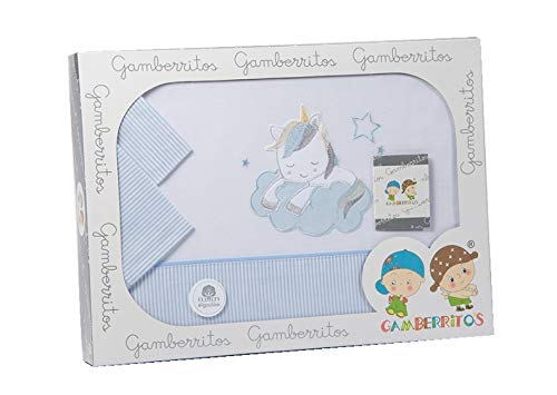 Gamberritos Ropa de cama Unicorn, 120 x 180 cm, color azul