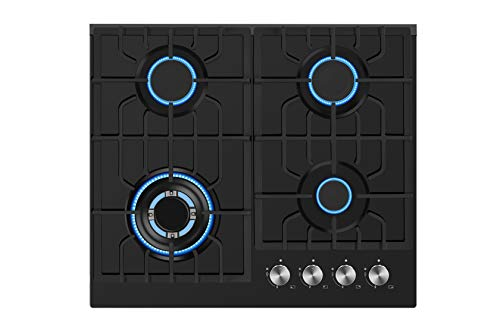 Empava 24 in. Gas Stove Cooktop 4 Italy Sabaf Sealed Burners NG/LPG Convertible Tempered Glass in Black, 24 Inch, Stainless Steel