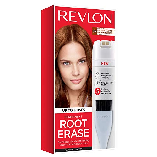 Revlon Root Erase Permanent Hair Color, At-Home Root Touchup Hair Dye with Applicator Brush for Multiple Use, 100% Gray Coverage, Medium Auburn/Reddish Brown (5R), 3.2 oz