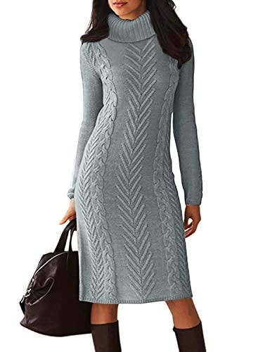 Vestido de manga larga para mujer y mujer, con cuello redondo, entallado, B Gris, L