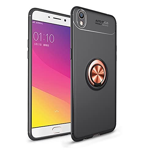 Das tragbare Handy Tasche Schutzhülle für OPPO R9 plus Fall Weiche TPU Stoßfest Hülle 360 Grad rotierender Metall Magnetring Kickstand Wärmeableitung Anti-Fall-Schutzhülle ( Color : Rose Gold )