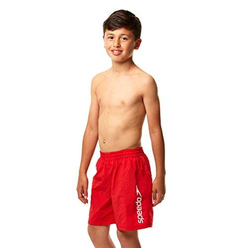 Speedo Jungen Badehose Challenge de 15 Zoll, Feuerwehr-Rot/Weiss Streifen-Logo, XS, 8013257718