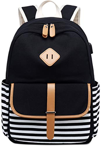 Travel Laptop Backpacks Womens Girls College School Backpack with USB Charger Port and over Luggage Trolley Sleeve (Black)