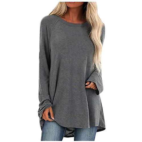 Wave166 Camiseta de manga larga para mujer, elegante, monocolor, corte holgado, cuello redondo, manga larga, para otoño, béisbol, sudadera, ropa deportiva para mujeres, gris, S