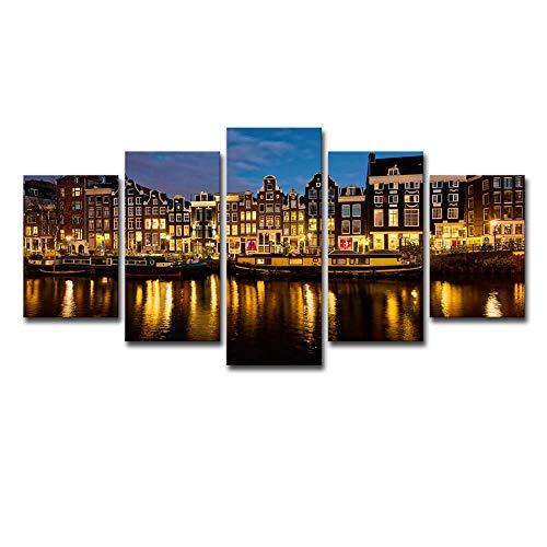 Amsterdamer haven nachtzicht Nederland 5 sets schilderijen HD-druk wandschilderijen modern schilderij huisschilderij canvasafbeeldingen 8X14/18/22Inch Without Frame