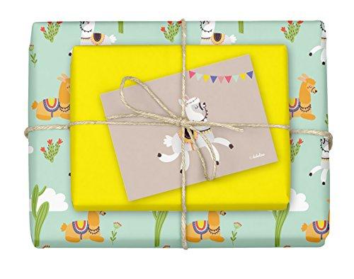 dabelino® 4x doppelseitiges Lama/Alpaka-Geschenkpapier + 1x Postkarte für Kinder | Made in Germany | (Einzelbögen 42x59cm, DIN A2)