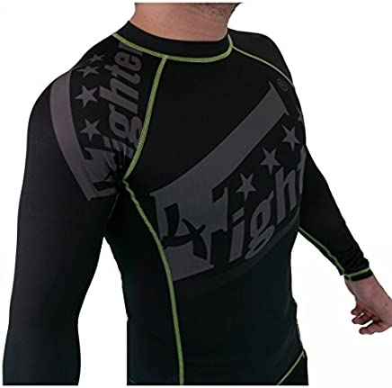 4Fighter Rashguard Compression Shirt schwarz mit grauem Sublimation Druck grünen Logos S - XL B076DGFYH5   | Vogue