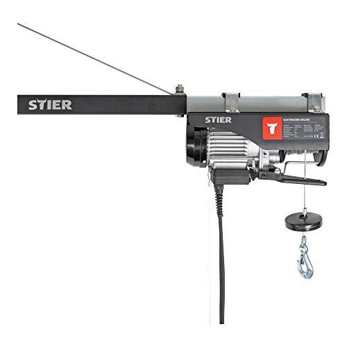 STIER Elektrischer Seilzug, Tragkraft 500 kg, Leistung 900 W, Hebehöhe bis 12 m, inkl. Befestigungsbügel, einfache Montage, Sicherheit durch Not-Aus-Schalter