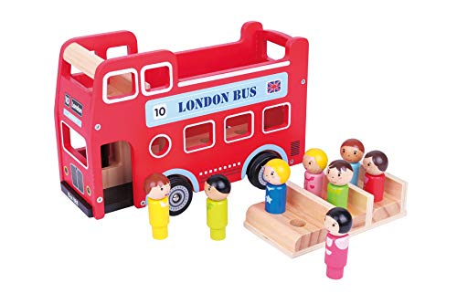 Lelin SKC1213 Original Double Decker Red Classic London Sight Seeing Bus with Driver & Passenger Figurines, 27.5 x 12.5 x 18.2 cm