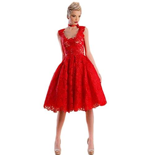 WintCO Damen Elegantes Midikleid mit Spitze Schlank Spitzenkleid Lace Kleid Abendkleid Hohl Prinzessin Stil